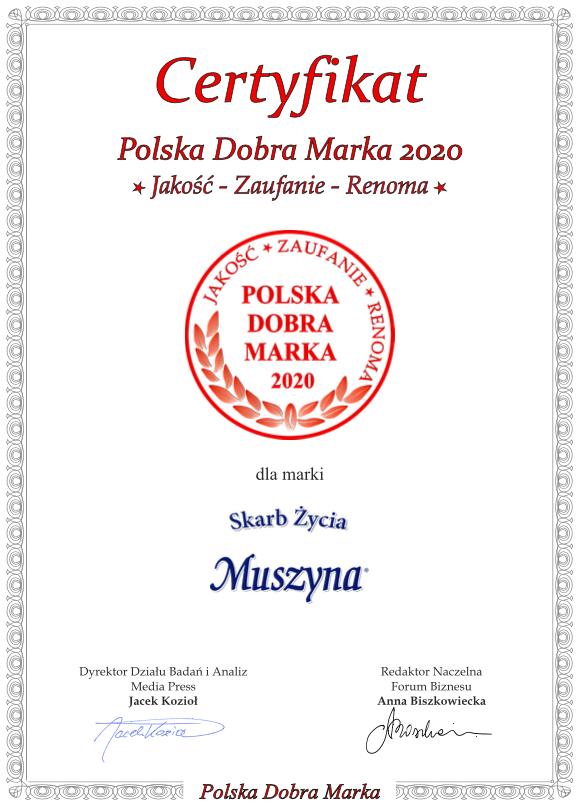 Certyfikat Polska Dobra Marka 2020 - Muszyna Skarb Życia