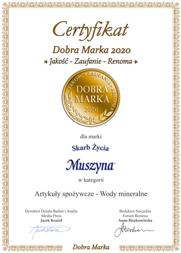 Certyfikat Dobra Marka 2020 - Muszyna Skarb Życia