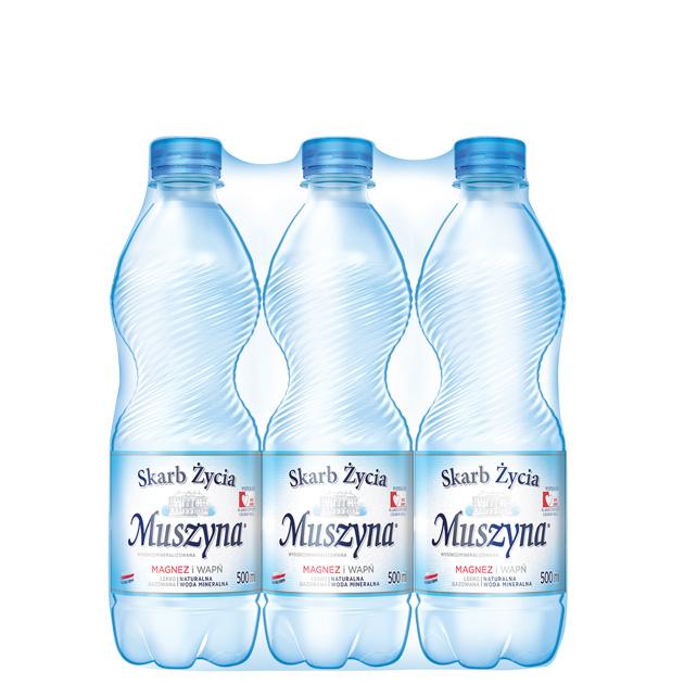 Skarb Życia Muszyna Woda Mineralna Lekko Gazowana 0.5 Zgrzewka